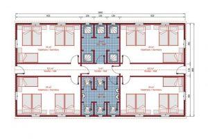 148 m2 Dormitory Plan