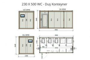 230 X 500 3 WC & 2 Shower