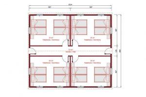 91 m2 Dormitory Plan