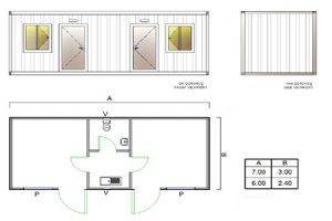 BGK 403 Classic Container, 2 Rooms & WC & Kitchen